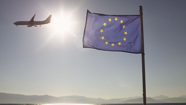 European Union flag and plane